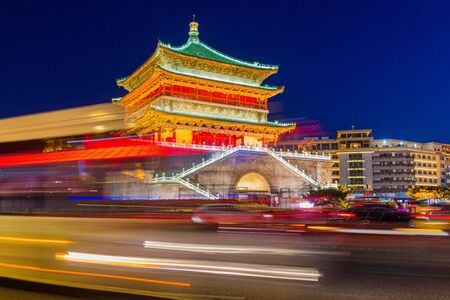 Evening view of the traffic around Bell Tower in Xi'an, China