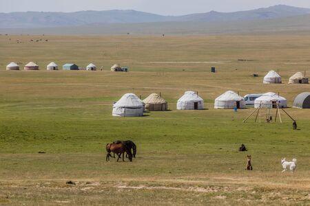 Yurt camps at the shores of Song Kul lake, Kyrgyzstan