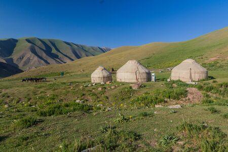 Yurt camp in the mountains near Song Kul lake, Kyrgyzstan