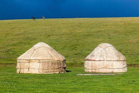 Yurts near Song Kul lake, Kyrgyzstan