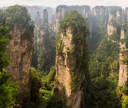 Rock pillars in Wulingyuan Scenic and Historic Interest Area in Zhangjiajie National Forest Park in Hunan province, China