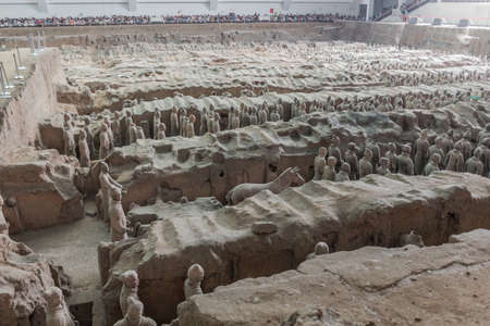 XI'AN, CHINA - AUGUST 6, 2018: View of the Pit 1 of the Army of Terracotta Warriors near Xi'an, Shaanxi province, China Editorial