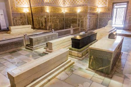 SAMARKAND, UZBEKISTAN - APRIL 27, 2018: Interior of Gur-e Amir Mausoleum in Samarkand, Uzbekistan