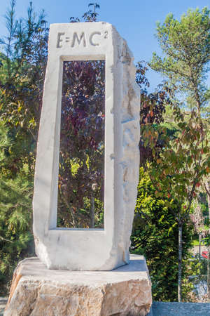 SINTRA, PORTUGAL - OCTOBER 9, 2017: Monument of E=MC2 equation in Sintra, Portugal