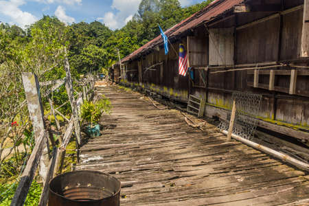 Veranda of a traditional longhouse near Batang Rejang river, Sarawak, Malaysia