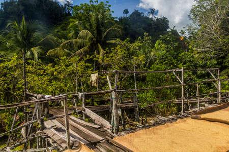 Veranda of a traditional longhouse near Batang Rejang river, Sarawak, Malaysia Stock Photo