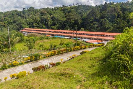 Modern concrete longhouse near Batang Rejang river, Sarawak, Malaysia