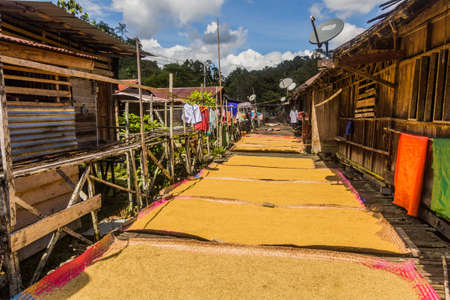 Drying grains on a veranda of a traditional longhouse near Batang Rejang river, Sarawak, Malaysia Banque d'images