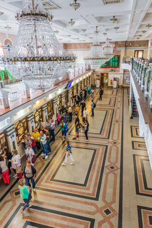 OMSK, RUSSIA - JULY 7, 2018: Interior of the railway station in Omsk.