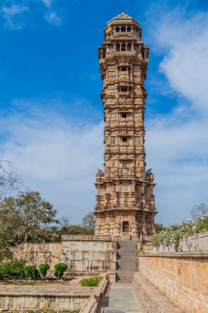 Vijaya Stambha (Tower of Victory) at Chittor Fort in Chittorgarh, Rajasthan state, India