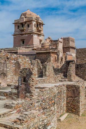 Ruins of  Kumbha Palace at Chittor Fort in Chittorgarh, Rajasthan state, India