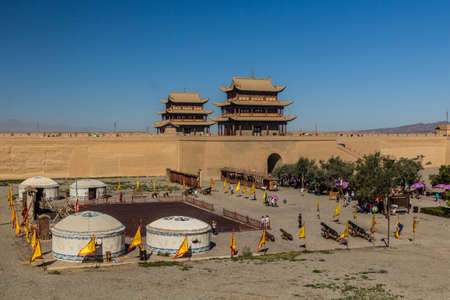 View of Jiayuguan Fort courtyard with yurts, Gansu Province, China 版權商用圖片