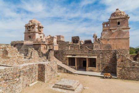 Ruins of Kumbha Palace at Chittor Fort in Chittorgarh, Rajasthan state, India