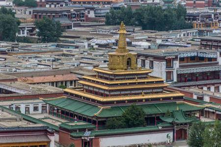 Gongtang pagoda at Labrang monastery in Xiahe town, Gansu province, China
