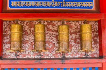 Praying wheels at Labrang Monastery in Xiahe town, Gansu province, China