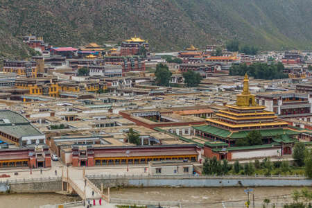 Aerial view of Xiahe town with  Labrang monastery, Gansu province, China