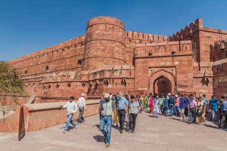 AGRA, INDIA - FEBRUARY 20, 2017: Tourists at Amar Singh Gate of Agra Fort, Uttar Pradesh state, India