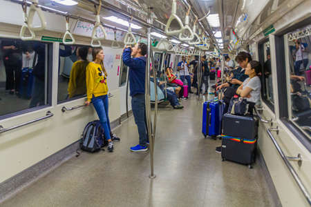 SINGAPORE, SINGAPORE - MARCH 10, 2018: Interior of a MRT train in SIngapore.
