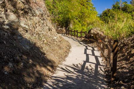 Path to Salto de Baiguate waterfall near Jarabacoa town in Dominican Republic Foto de archivo