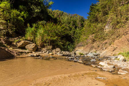 Creek near Salto de Baiguate waterfall near Jarabacoa town in Dominican Republic