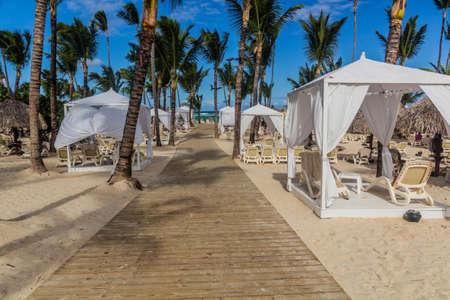Tents at Bavaro beach, Dominican Republic Foto de archivo
