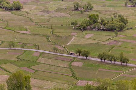 Aerial view of fields near Vrang village in Wakhan valley, Tajikistan
