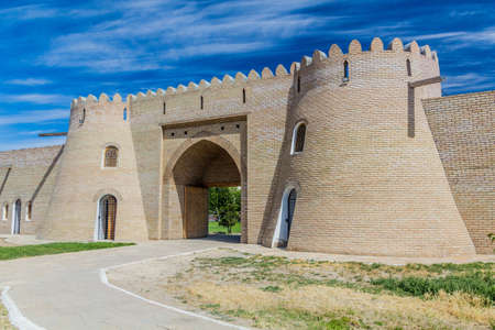 Renovated gate of the old walls in Turkistan, Kazakhstan