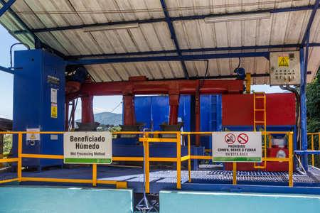 JARABACOA, DOMINICAN REPUBLIC - DECEMBER 10, 2018: Equipment of Cafe Monte Alto coffee factory in Jarabacoa, Dominican Republic