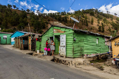 CONSTANZA, DOMINICAN REPUBLIC - DECEMBER 11, 2018: Small houses in Constanza, Dominican Republic Editorial
