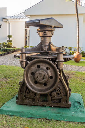 PUERTO PLATA, DOMINICAN REPUBLIC - DECEMBER 13, 2018: Old machinery at the grounds of Brugal Rum Plant in Puerto Plata, Dominican Republic