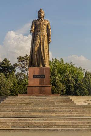 PENJIKENT, TAJIKISTAN - MAY 8, 2018: Ismoil Somoni statue in Penjikent, Tajikistan