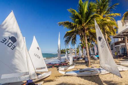 CABARETE, DOMINICAN REPUBLIC - DECEMBER 13, 2018: Sailboats at a beach in Cabarete, Dominican Republic