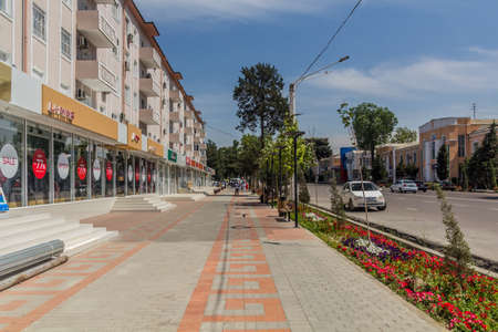 KHUJAND, TAJIKISTAN - MAY 6, 2018: Ismoil Somoni avenue in Khujand, Tajikistan Editorial