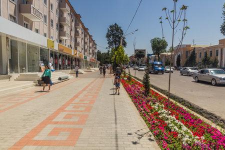 KHUJAND, TAJIKISTAN - MAY 7, 2018: Ismoil Somoni avenue in Khujand, Tajikistan