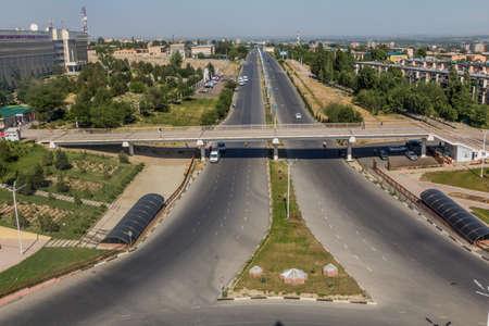 KHUJAND, TAJIKISTAN - MAY 7, 2018: Aerial view of Tashkent avenue in Khujand, Tajikistan