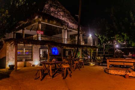 LAS TERRENAS, DOMINICAN REPUBLIC - DECEMBER 3, 2018: Evening view of Afreeka Beach Hostel in Las Terrenas, Dominican Republic Editorial