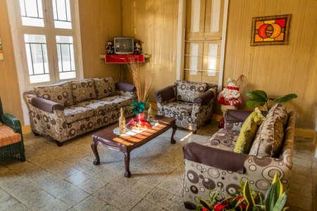 PUERTO PLATA, DOMINICAN REPUBLIC - DECEMBER 13, 2018: Lobby of a guest house in Puerto Plata, Dominican Republic Editorial