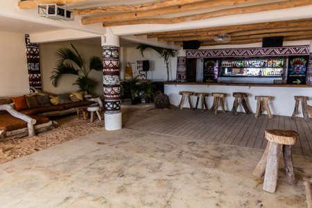 LAS TERRENAS, DOMINICAN REPUBLIC - DECEMBER 3, 2018: Bar of Afreeka Beach Hostel in Las Terrenas, Dominican Republic Editorial