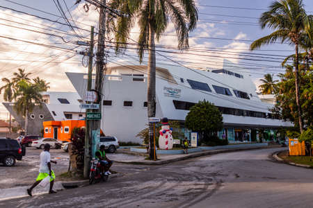 LAS TERRENAS, DOMINICAN REPUBLIC - DECEMBER 3, 2018: Puerto plaza building in Las Terrenas, Dominican Republic Editorial