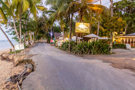 LAS TERRENAS, DOMINICAN REPUBLIC - DECEMBER 4, 2018:Coastal road in Las Terrenas, Dominican Republic
