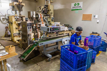 JARABACOA, DOMINICAN REPUBLIC - DECEMBER 10, 2018: Packing area of Cafe Monte Alto coffee factory in Jarabacoa, Dominican Republic Editorial