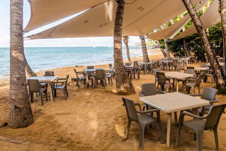 Beach restaurant in Las Terrenas, Dominican Republic Editorial