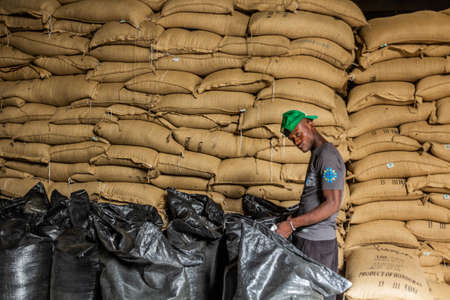 JARABACOA, DOMINICAN REPUBLIC - DECEMBER 10, 2018: Bags of coffee in Cafe Monte Alto coffee factory in Jarabacoa, Dominican Republic