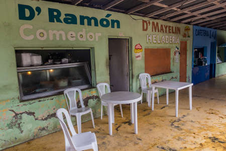 SABANA DE LA MAR, DOMINICAN REPUBLIC - DECEMBER 7, 2018: Several simple eateries in Sabana de la Mar, Dominican Republic