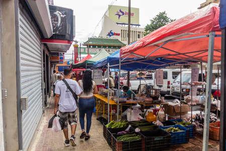 SANTO DOMINGO, DOMINICAN REPUBLIC - NOVEMBER 18, 2018: Market in the Chinatown of Santo Domingo, capital of Dominican Republic. Editorial