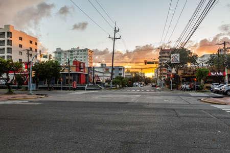 SANTO DOMINGO, DOMINICAN REPUBLIC - NOVEMBER 11, 2018: Sunset at Winston Churchil avenue in Santo Domingo, capital of Dominican Republic.