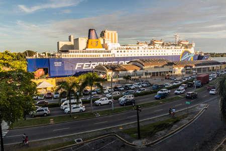 SANTO DOMINGO, DOMINICAN REPUBLIC - NOVEMBER 24, 2018: Ferries del Caribe ferry in Santo Domingo, capital of Dominican Republic.