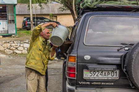 GORNO BADAKHSHAN, TAJIKISTAN - MAY 17, 2018: Petrol filling at Pamir Highway in Tajikistan. Editorial