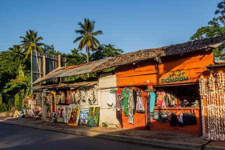 LAS TERRENAS, DOMINICAN REPUBLIC - DECEMBER 3, 2018: Souvenir shops in Las Terrenas, Dominican Republic