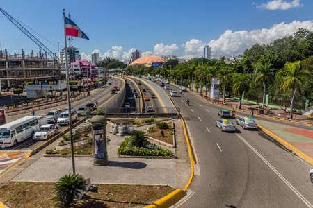 SANTO DOMINGO, DOMINICAN REPUBLIC - DECEMBER 9, 2018: View of 27 de Febrero avenue in Santo Domingo, capital of Dominican Republic Editorial